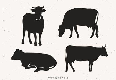 Paquete de vectores de silueta de vaca