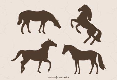 Ilustración de la silueta del caballo marrón