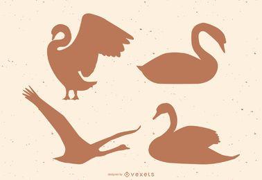 Conjunto de silhueta de cisne