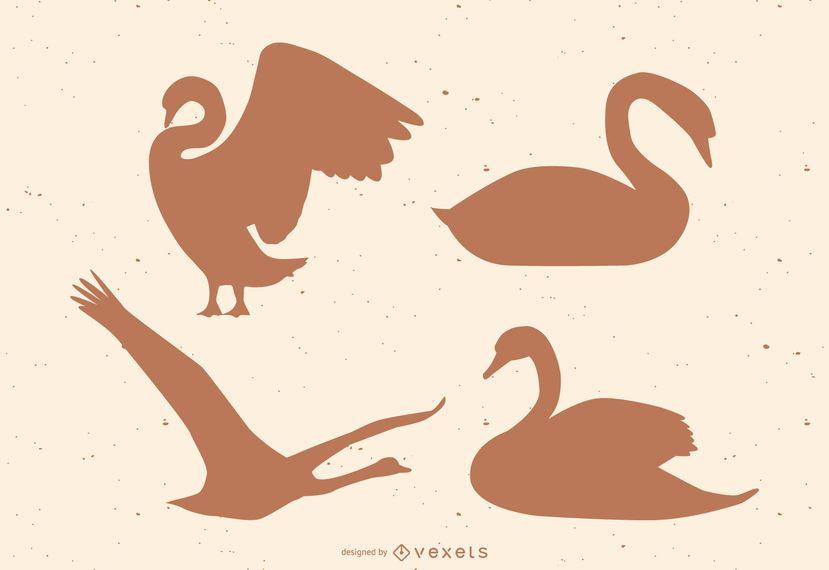 Conjunto de silueta de cisne
