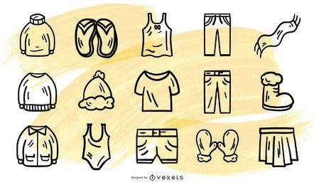 Colección de vectores de ropa de trazo