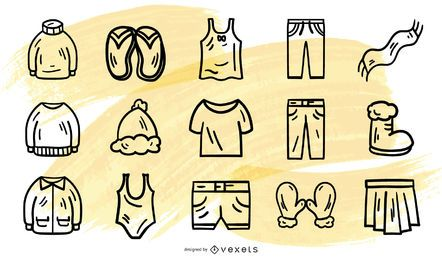Stroke clothes vector collection