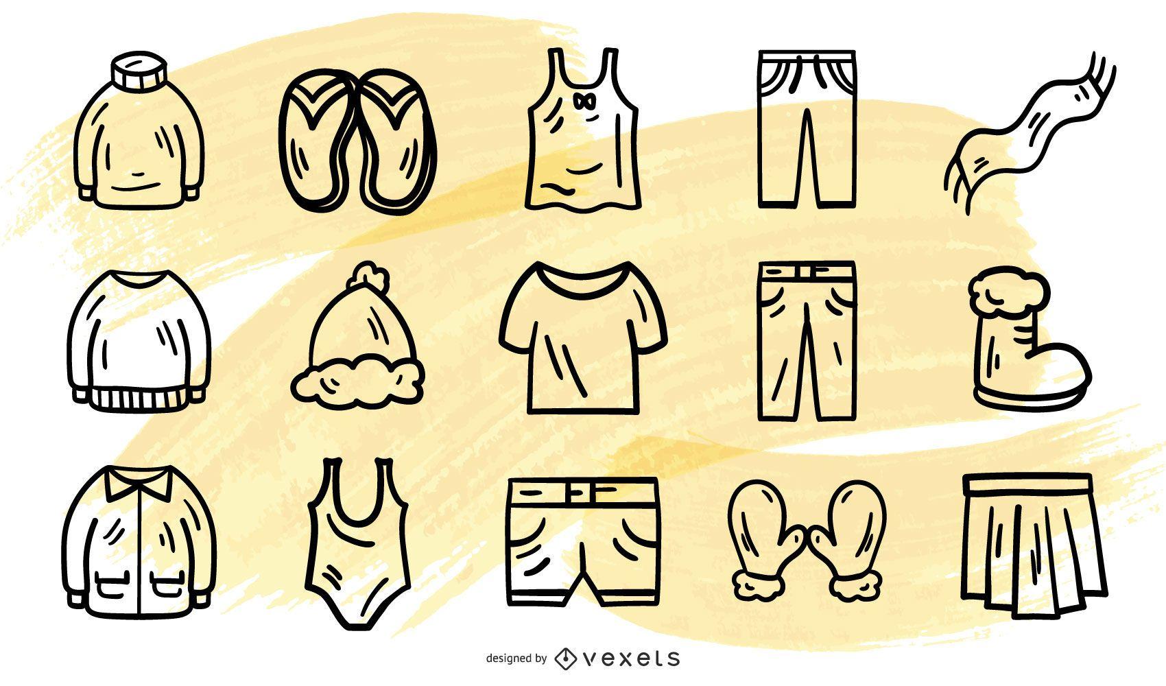 Stroke clothes vector collection