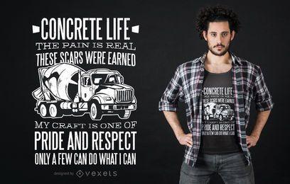 Diseño de camiseta de camión hormigonera.