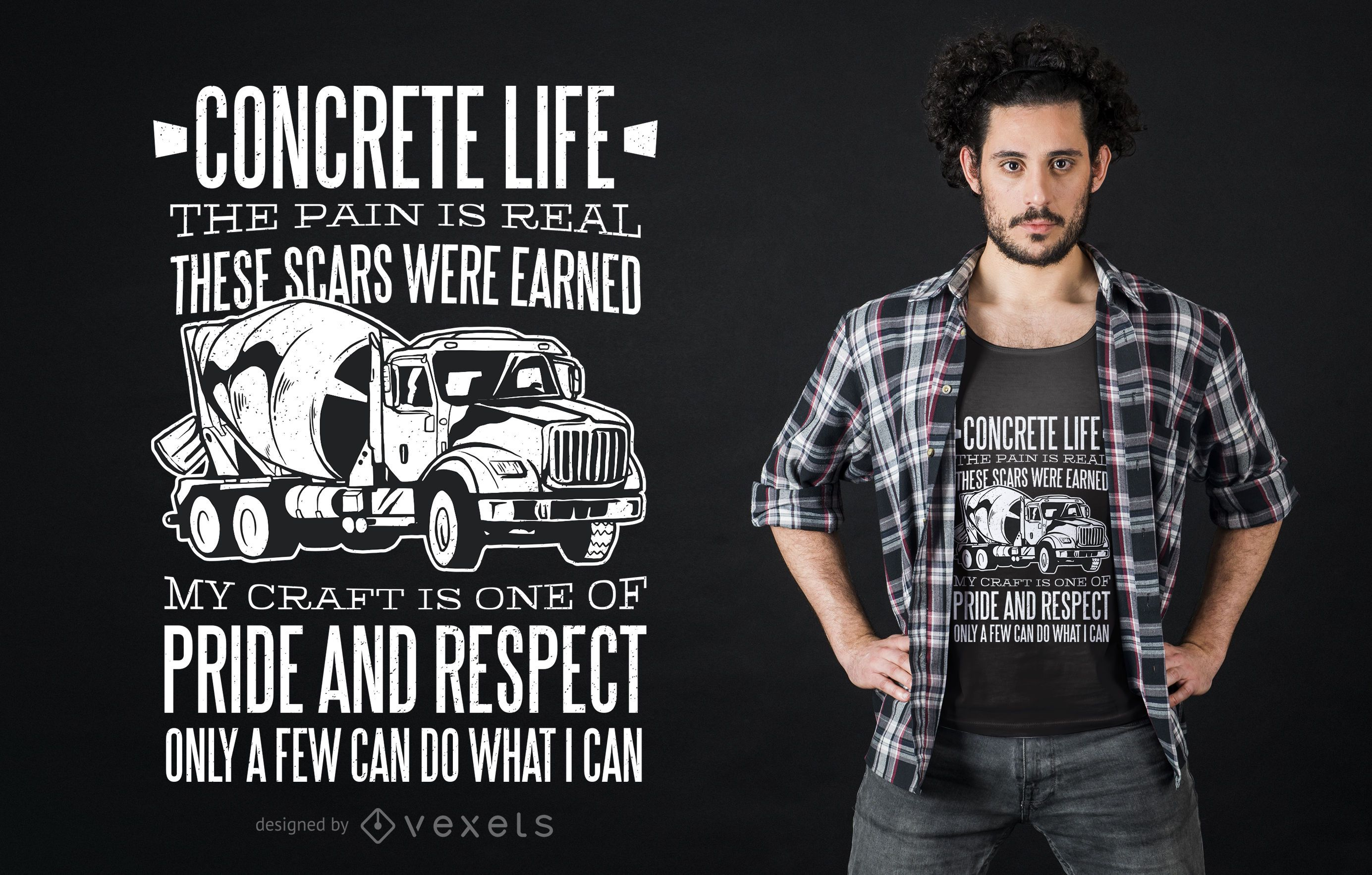 Concrete mixer truck t-shirt design