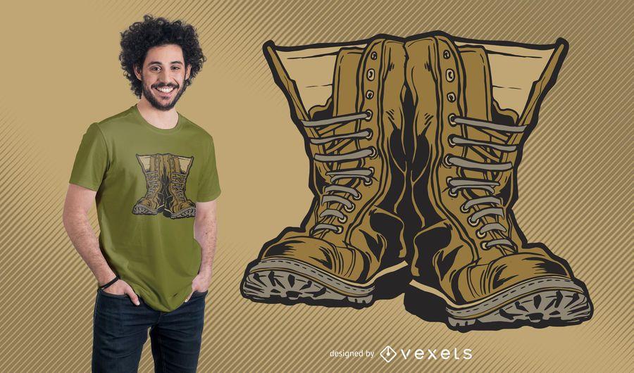 Projeto militar do t-shirt das botas