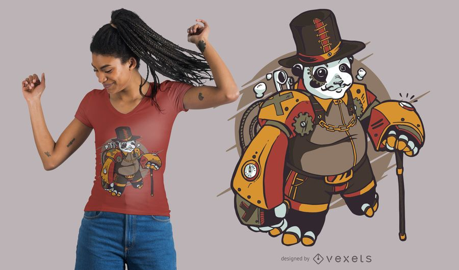 Projeto do t-shirt da panda de Steampunk