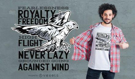 Projeto do t-shirt das citações do falcão da liberdade