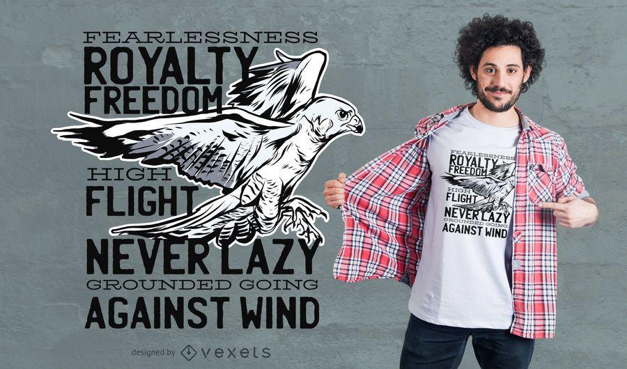 Diseño de la camiseta de la cita del halcón de la libertad