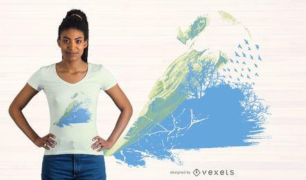 Abstraktes Aquarell-T-Shirt Design