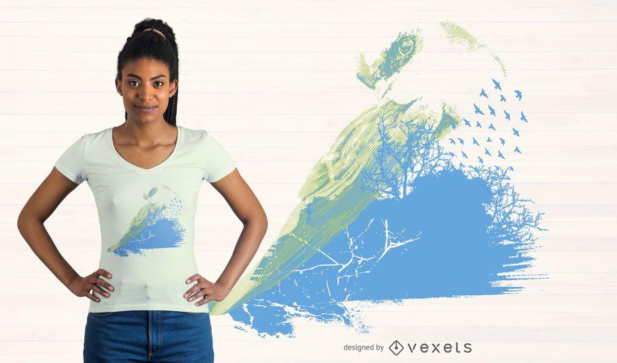 Projeto abstrato do t-shirt da aguarela