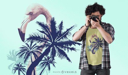 Diseño de camiseta de verano flamenco.
