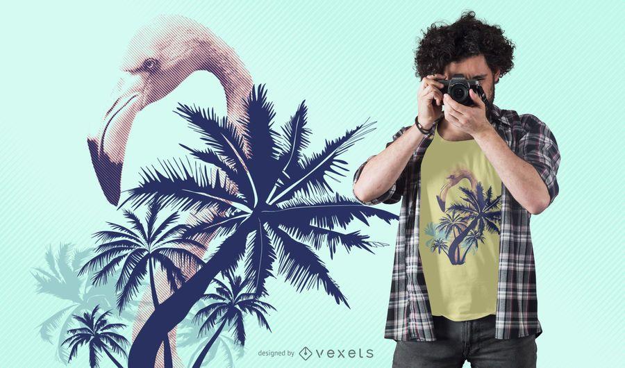 Design de t-shirt flamingo de verão
