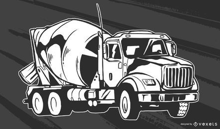 Concrete Truck Vector Design