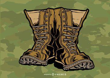 Desenho vetorial de botas militares