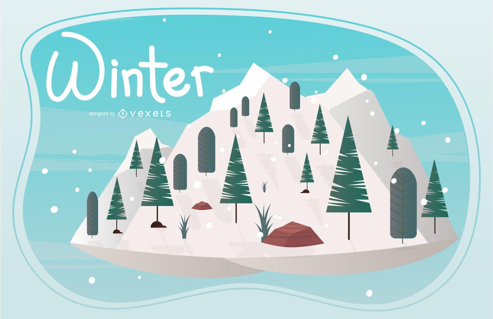Ilustración de la temporada de invierno