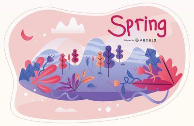 Ilustración de la temporada de primavera