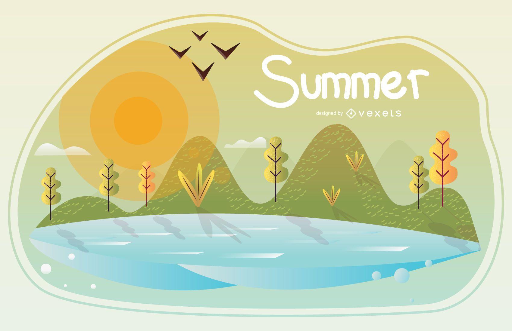 Ilustración de la temporada de verano