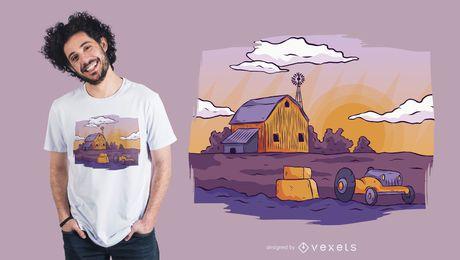 Diseño de camiseta de paisaje de granja.