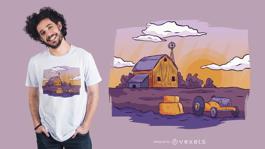 Farm landscape t-shirt design