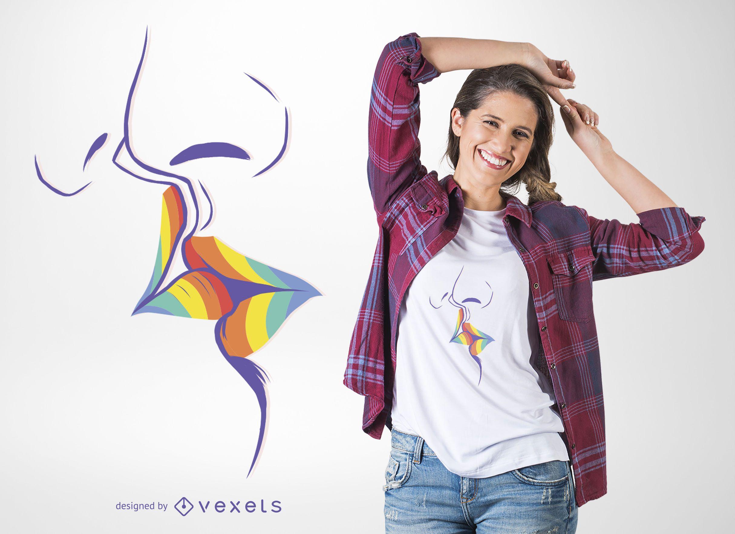 Design de camiseta com beijo arco-íris