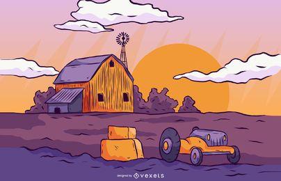 Ilustração de paisagem de fazenda