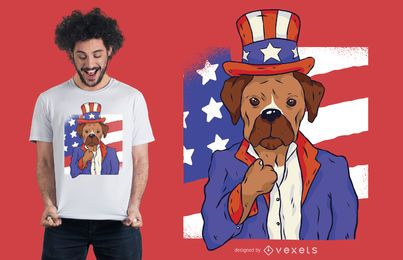Design patriótico do t-shirt do cão