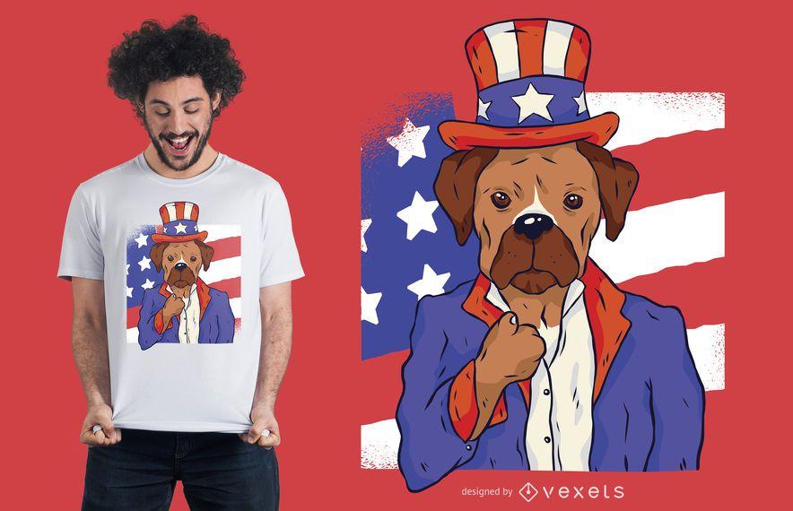 Design patriótico do t-shirt do cão