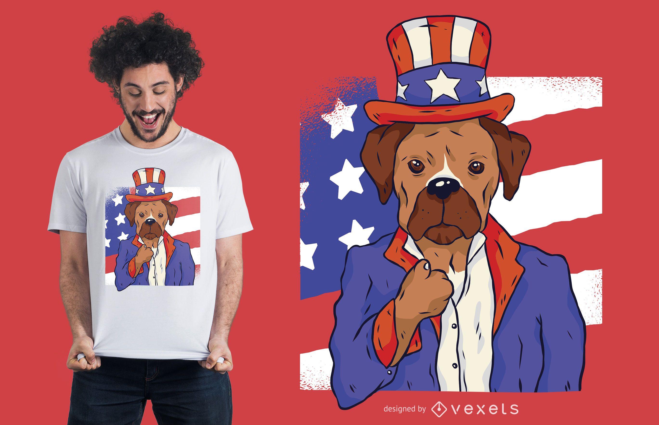 Patriotic dog t-shirt design