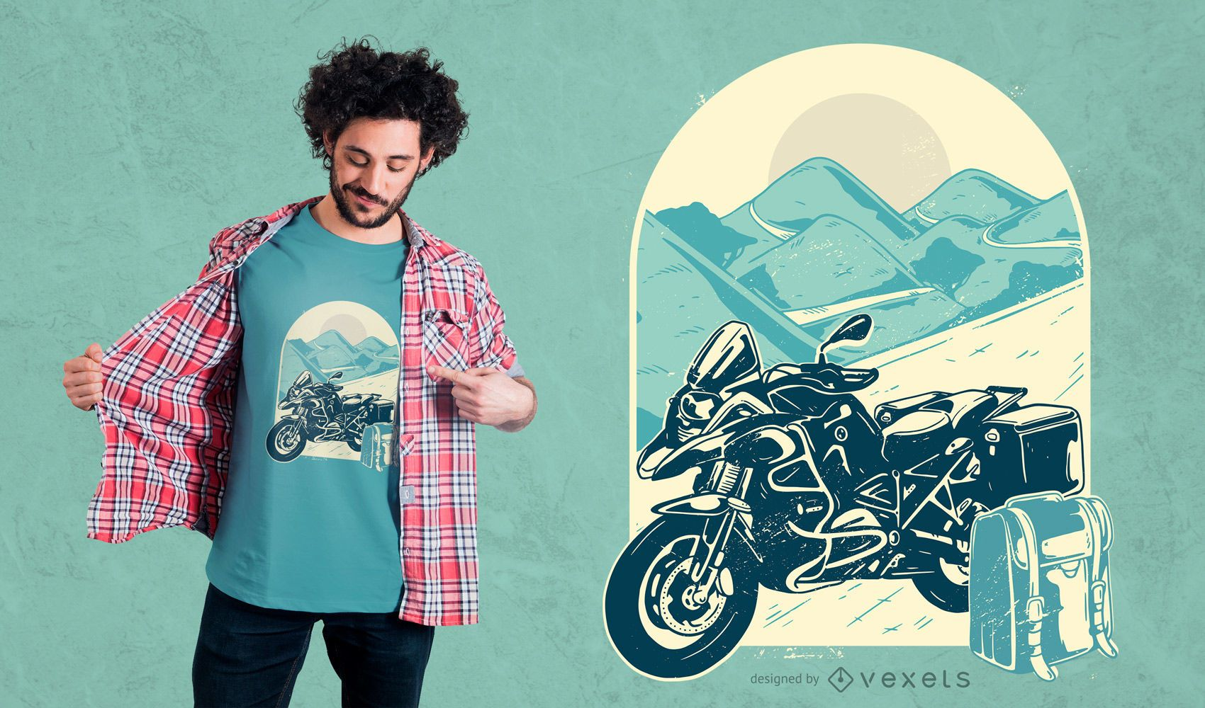 d37413f159ca Motorcycle Adventure T-shirt Design. Print ready. Download Large Image  1700x1000px. license image; user