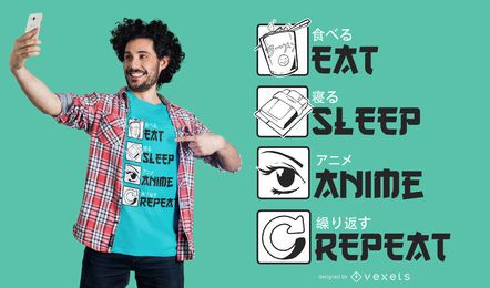 Coma o projeto do t-shirt do anime do sono