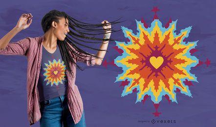 Projeto psicadélico do t-shirt do amor do Fractal