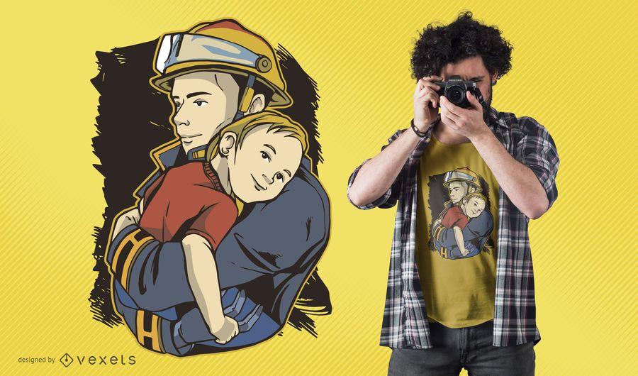 Projeto do t-shirt do bombeiro do salvamento
