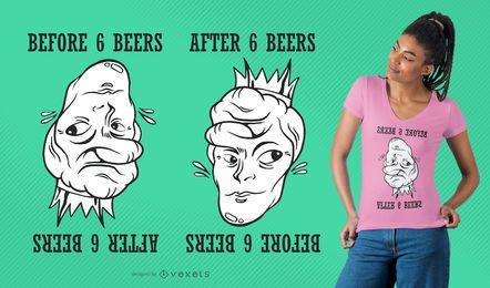 Diseño divertido de la camiseta de la cerveza de la ilusión óptica