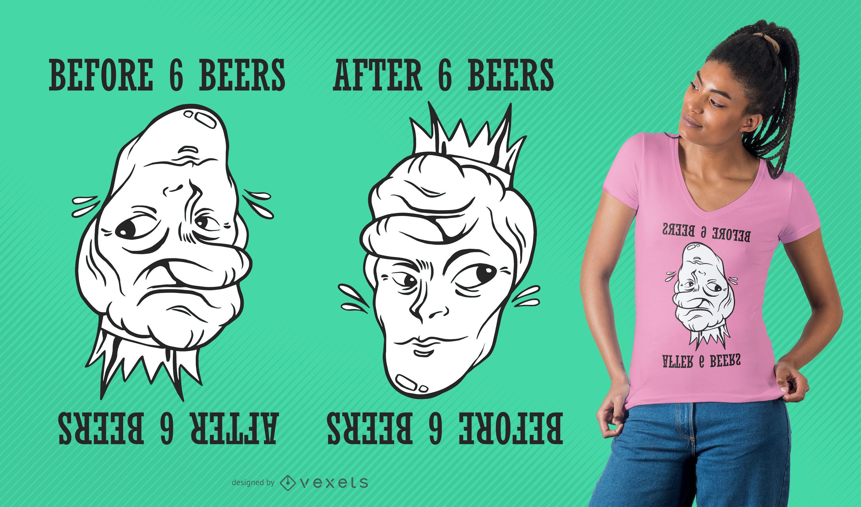 Optic Illusion Beer Funny T-shirt Design