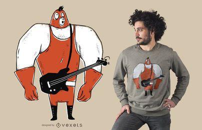Projeto do t-shirt dos desenhos animados do baixista
