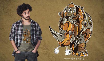 Projeto do t-shirt do rinoceronte de Steampunk