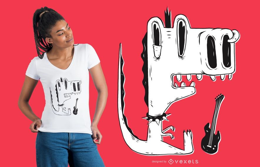 Diseño de camiseta dinosaurio punk rock.