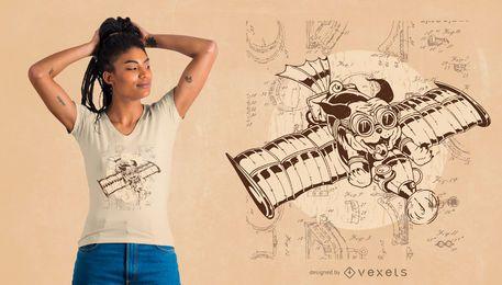 Diseño de camiseta Flying Cat