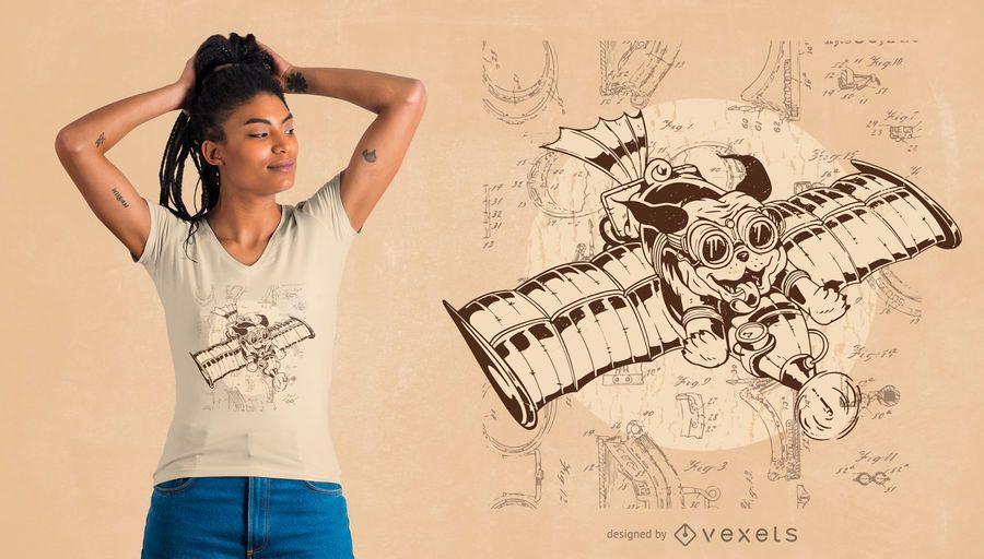 Diseño de camiseta de perro volador