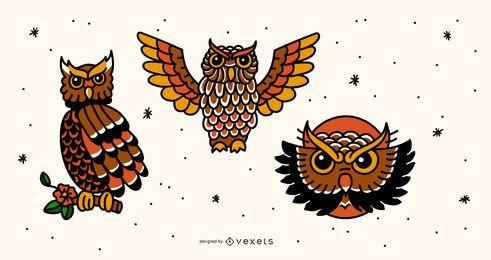 Conjunto de tatuagem de coruja vintage