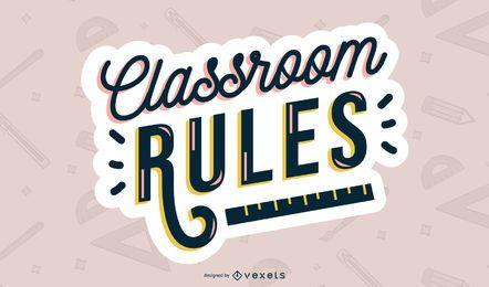 Diseño de letras de reglas de aula