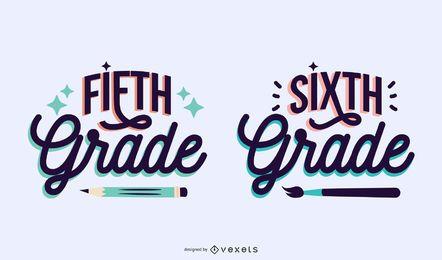 Fifth sixth grade lettering set