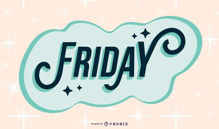 Friday sparkling lettering design