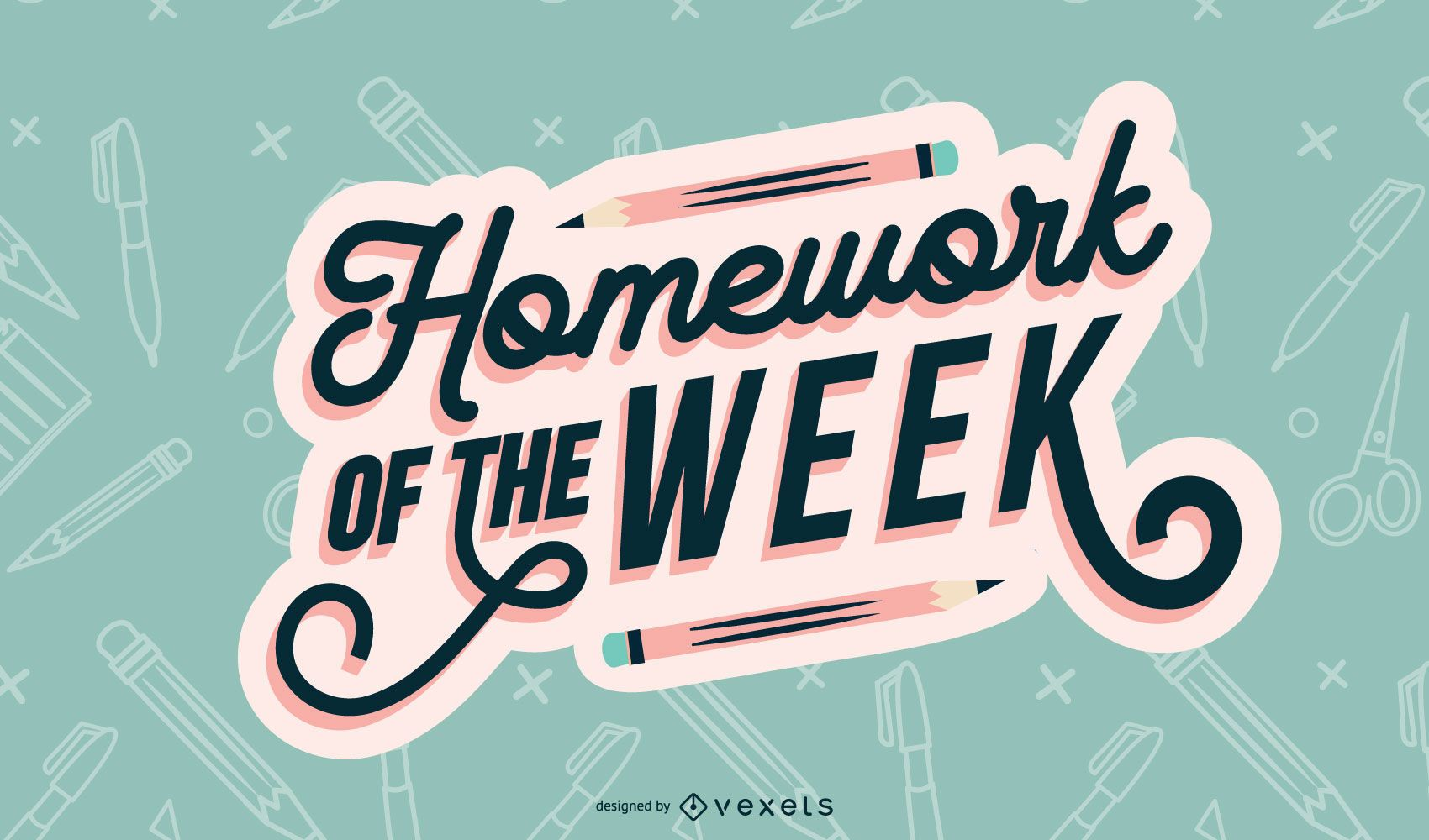 Week homework lettering design