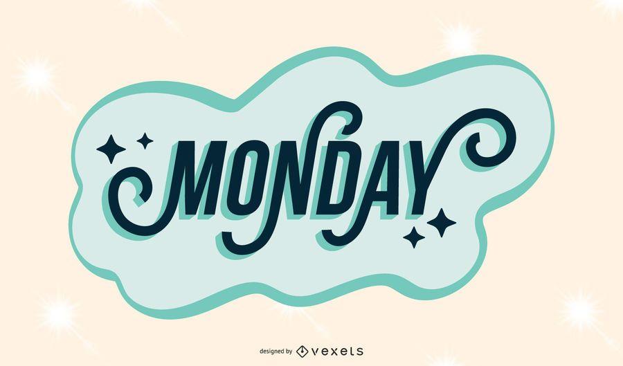Monday lettering desing