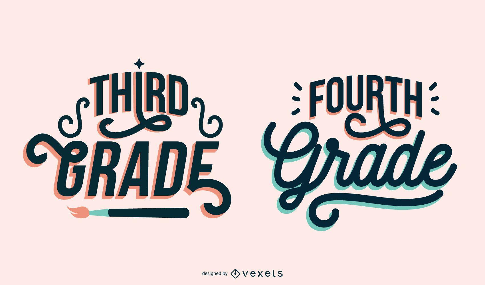 Third fourth grade lettering set