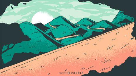 Diseño de vector de paisaje de carretera al atardecer