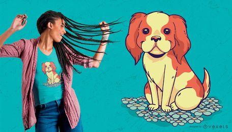 Projeto do t-shirt do filhote de cachorro da flor