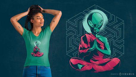 Diseño de camiseta de monje extraterrestre.